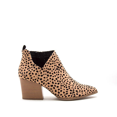 Nava-08 Tan Black Leopard Side Panel Booties