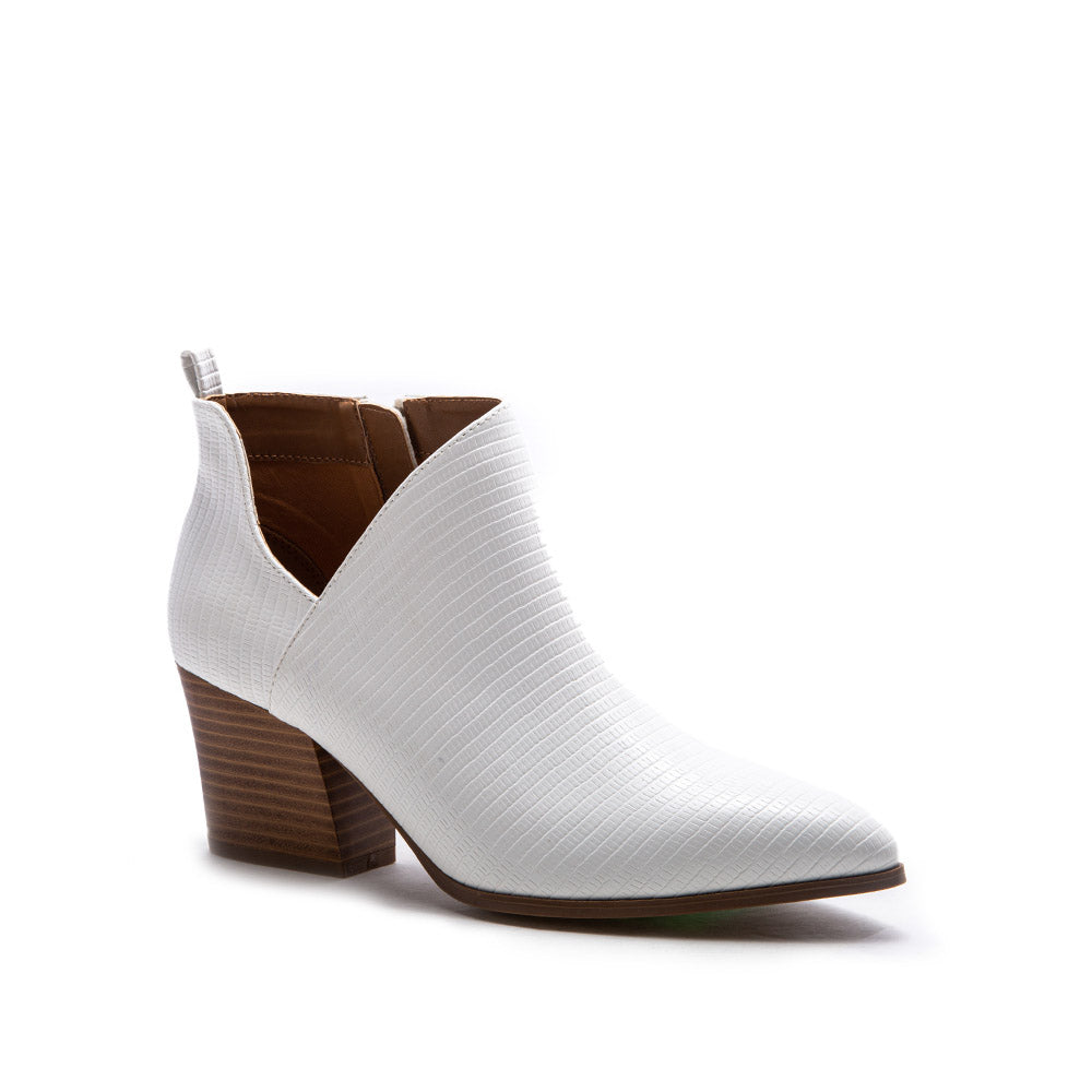 Nava-08 White Lizard Side Panel Booties