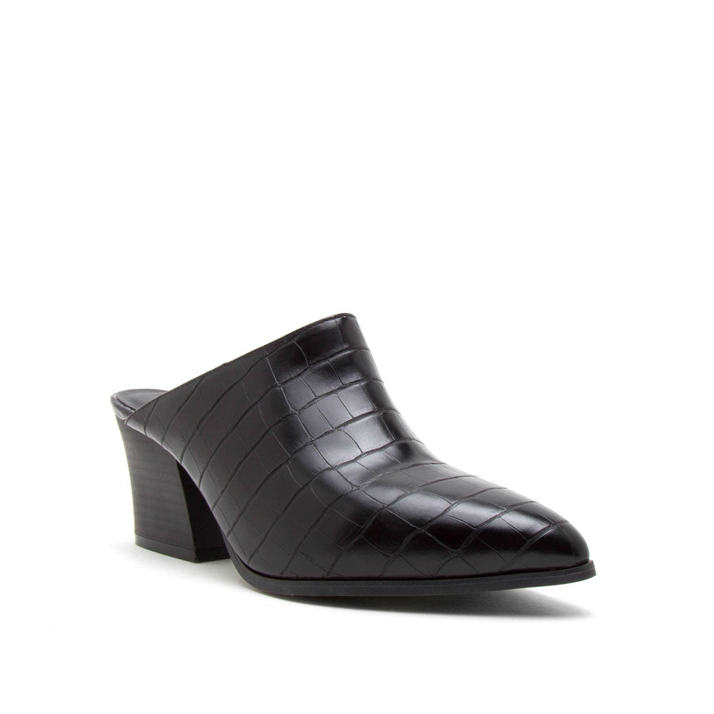 Nava-12 Black Crocodile Mules