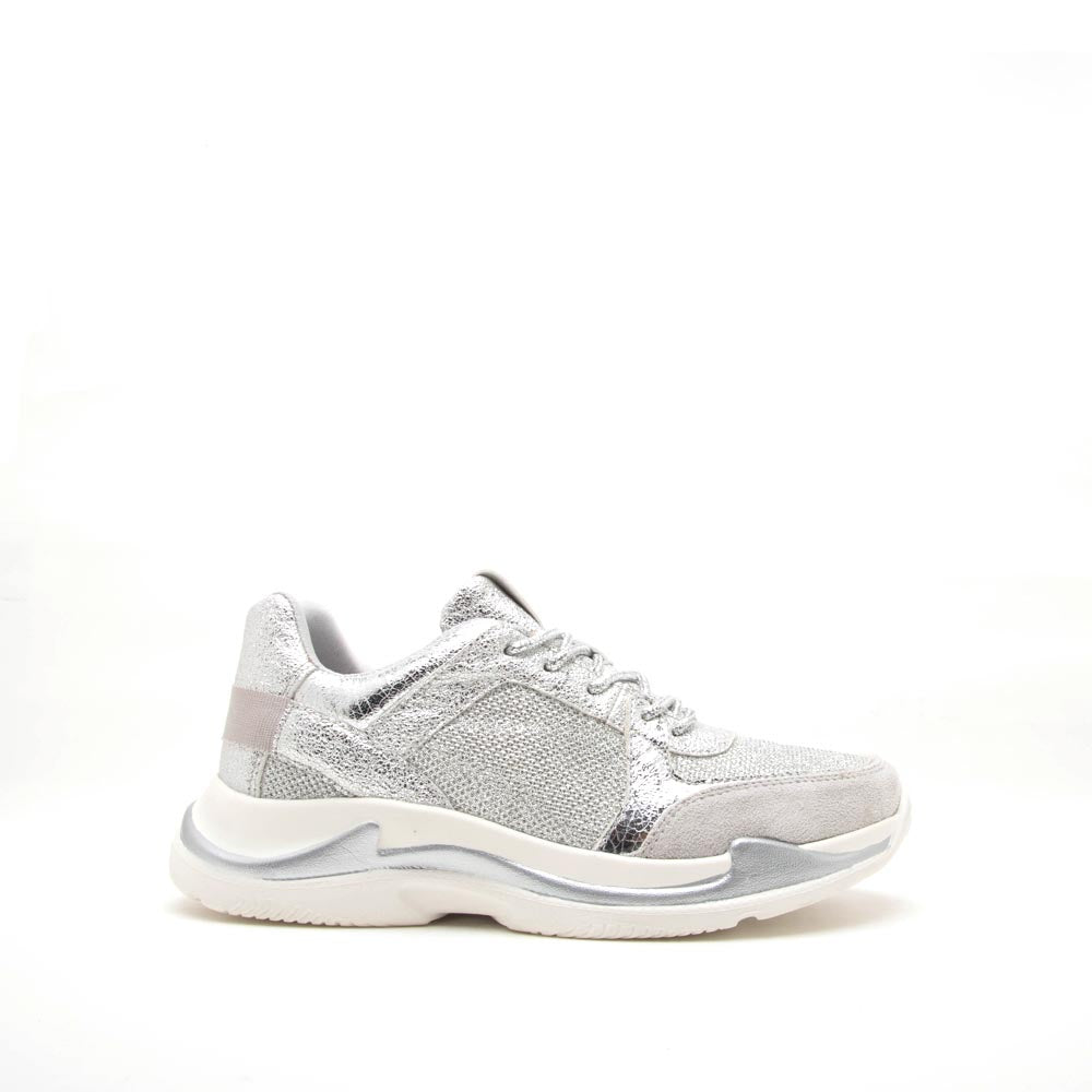 Nearby-02 Silver Glitter Lace Up Sneaker