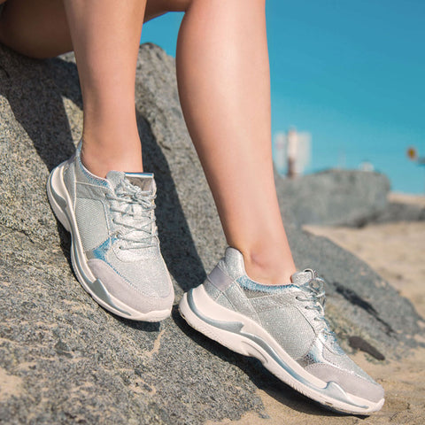6810e8e8e7b Nearby-02 Silver Glitter Lace Up Sneaker