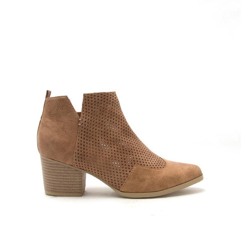 NERO-06 Camel Western Perforated Bootie