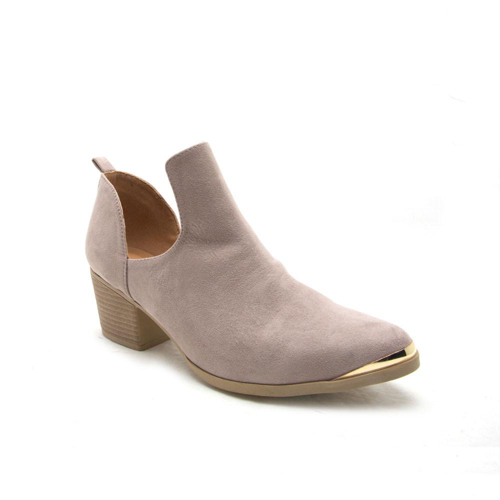 NERO-07 Taupe Metal Trim Pointed Bootie