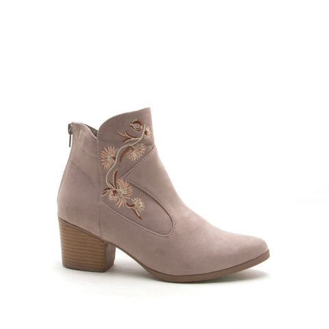 Nero-11X Taupe Embroidered Bootie