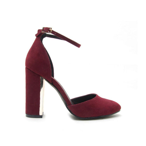 NILE-01 Burgundy Round Toe Chunky Heel With Gold Detail