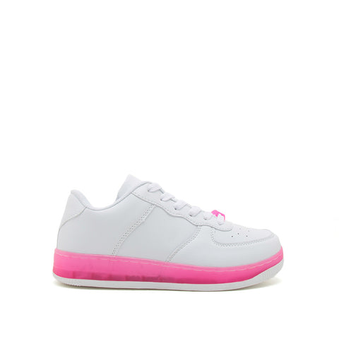 Noma-01 White Neon Fuchsia Lace Up Sneakers