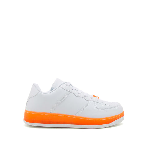 Noma-01 White Neon Orange Lace Up Sneakers