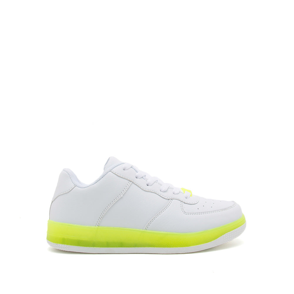 White Neon Yellow Lace Up Sneakers