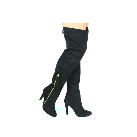 NORAH-01X Black Knee High Side Zipper Detail