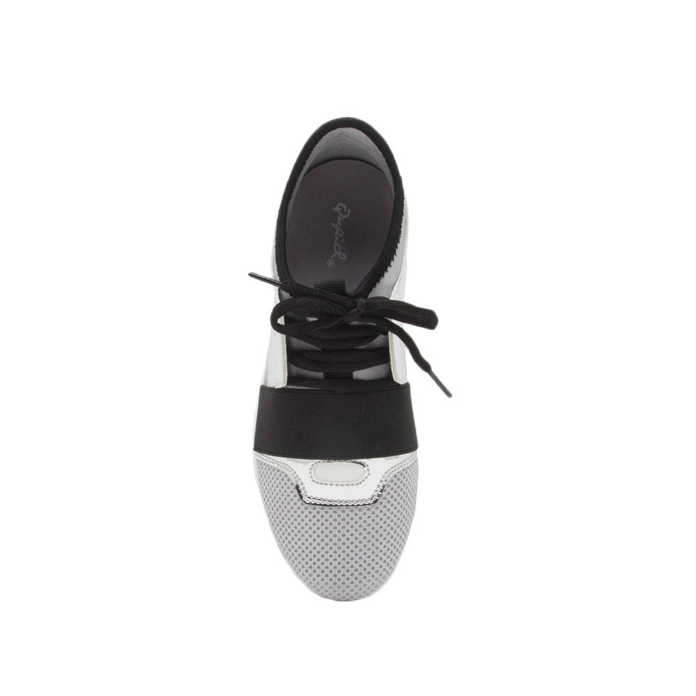 Oshton-01 Silver Metallic Lace Up Sneakers