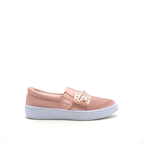 Owinn-02A Blush Embellished Satin Slip On Sneaker