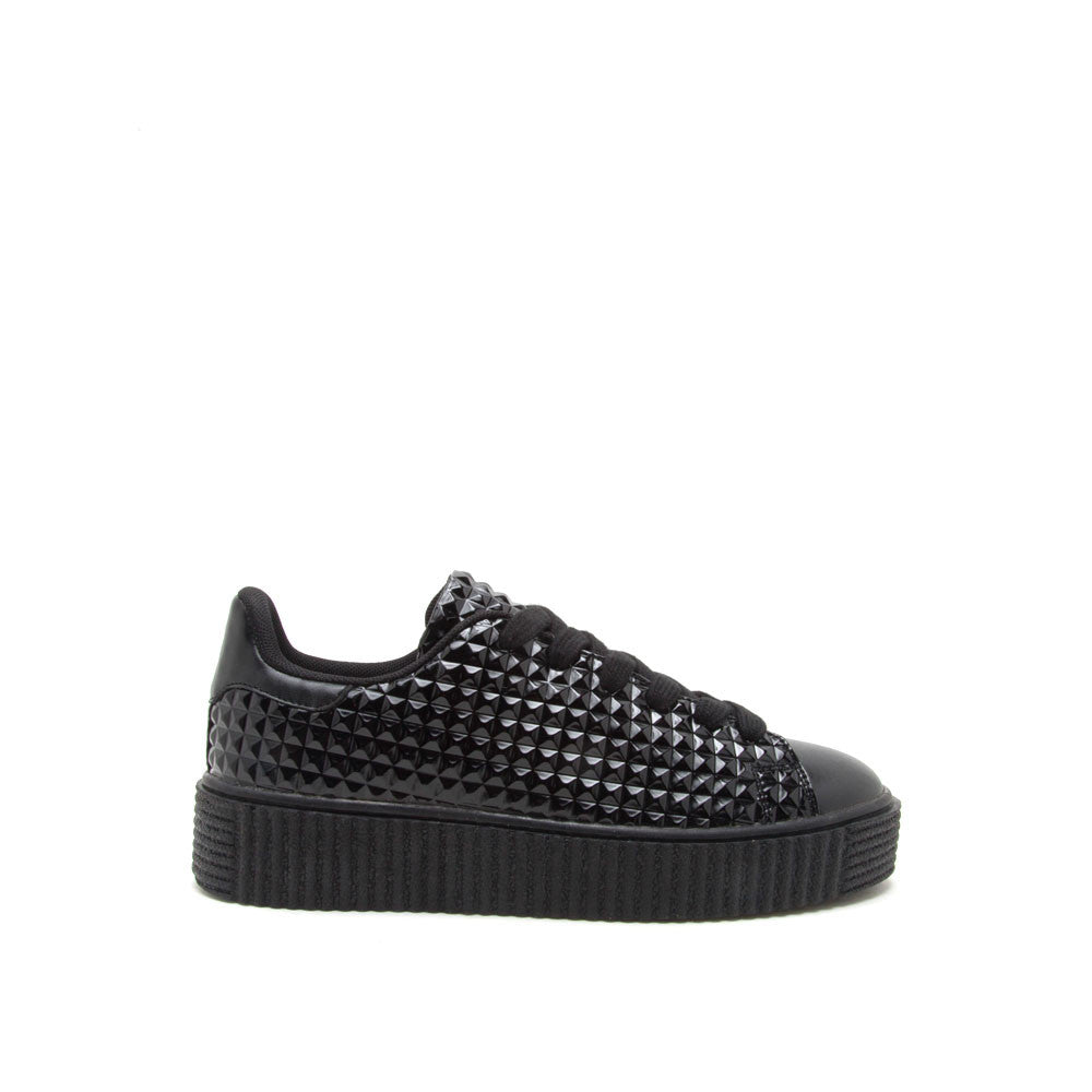 Paisley-01 Black Embossed Studded Sneaker