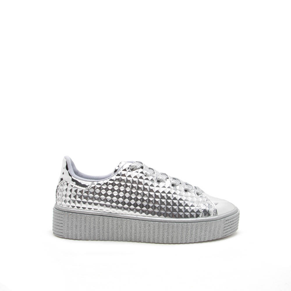 Paisley-01 Silver Embossed Studded Sneaker