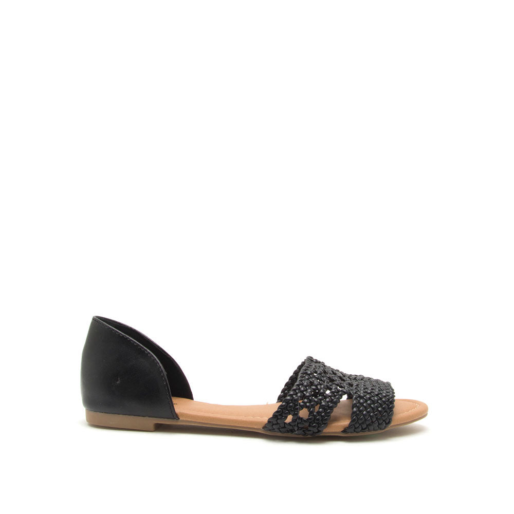 Palmer-516 Black Braided Ballerinas