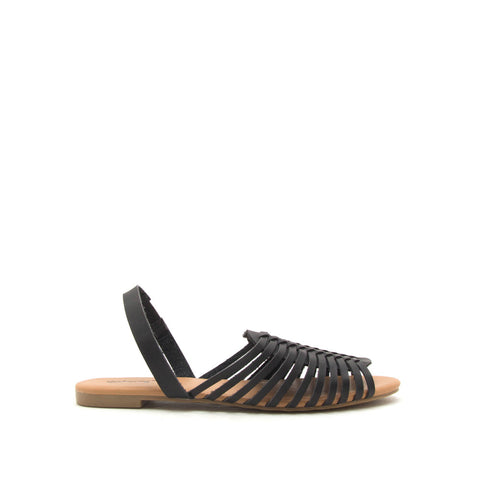 Palmer-520 Black Strappy Fisherman Ballerinas