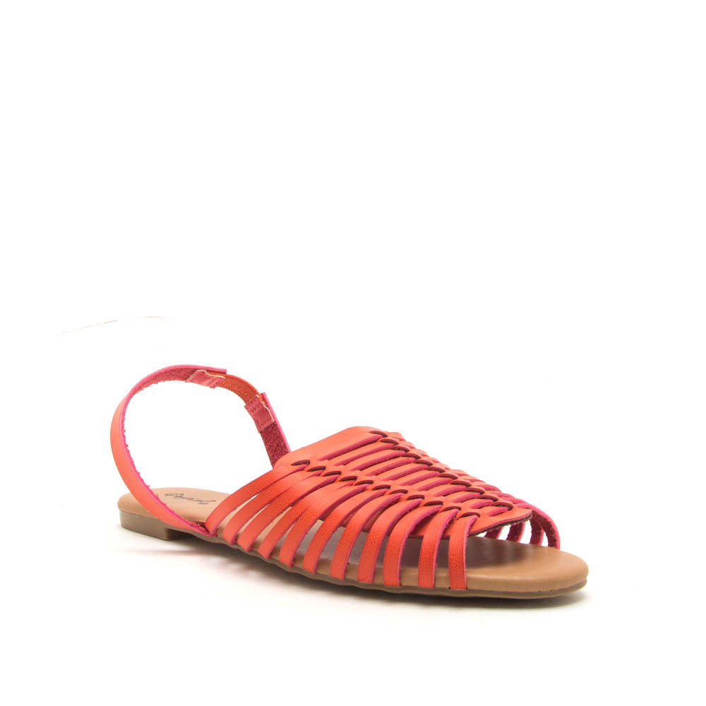 Palmer-520 Orange Strappy Fisherman Ballerinas