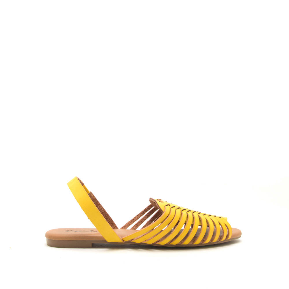 Palmer-520 Yellow Strappy Fisherman Ballerinas