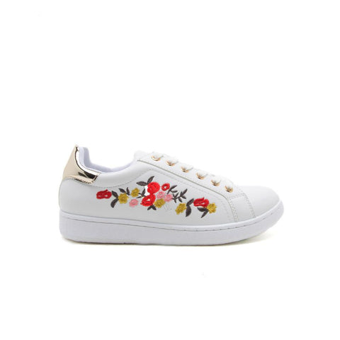 PANTERA-06 White Embroidered Sneaker