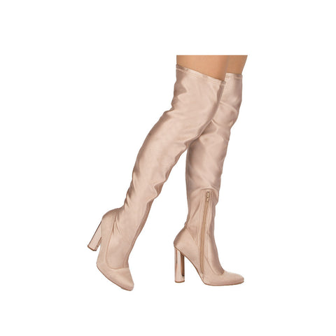Parma-04X Champagne Lycra Over The Knee Boot