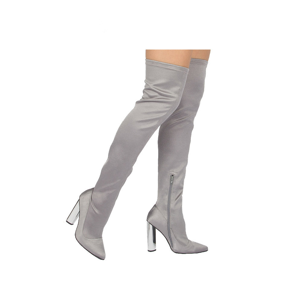 Qupid Parma-04 Over The Knee Thigh High Lycra Pointy Toe Chunky Heel Boots