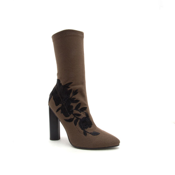 Parma-08 Khaki Embroidered Sock Bootie