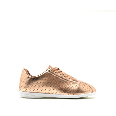 Paz-01 Rose Gold Metallic Perforated Lace Up Sneaker
