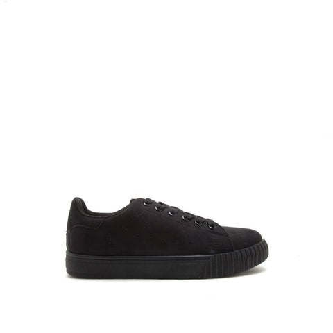 PICTON-01 Black Monochromatic Suede Sneakers
