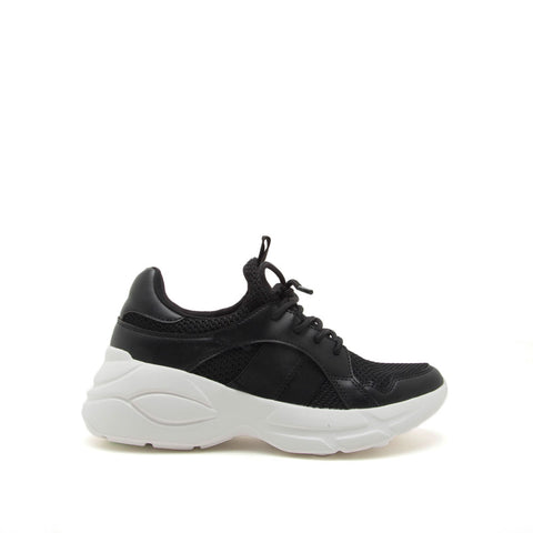 Piers-01 Black Lace Up Sneakers
