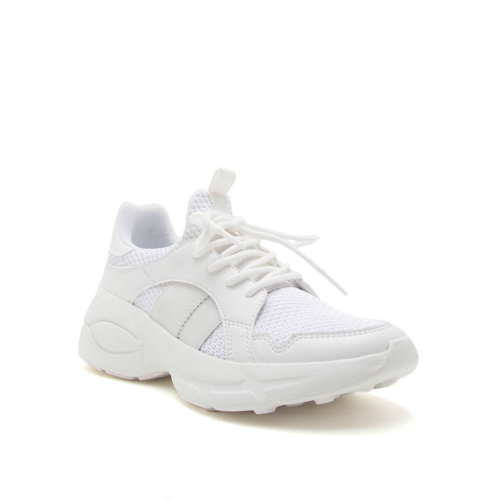 Piers-01 White Lace Up Sneakers