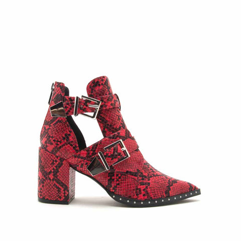 Planner-11X Red Black Snake Double Buckle Booties
