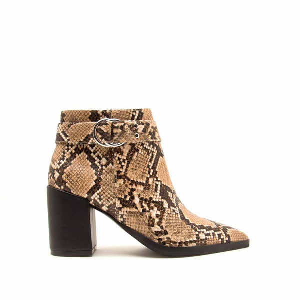 Planner-19A Beige Brown Snake Single Strap Side Zipper Booties