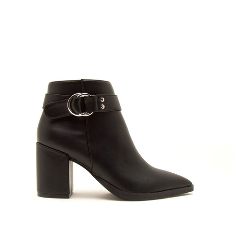 Planner-19A Black Single Strap Side Zipper Booties