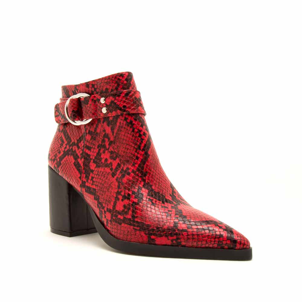 Planner-19A Red Black Snake Single Strap Side Zipper Booties