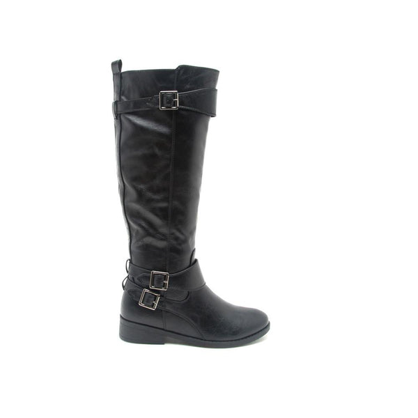 PLATEAU-143B Black Three Buckle Riding Boot