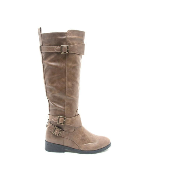PLATEAU-143B Taupe Three Buckle Riding Boot