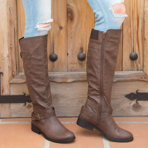 Plateau-175BX Dark Taupe Knee High Buckle Boot