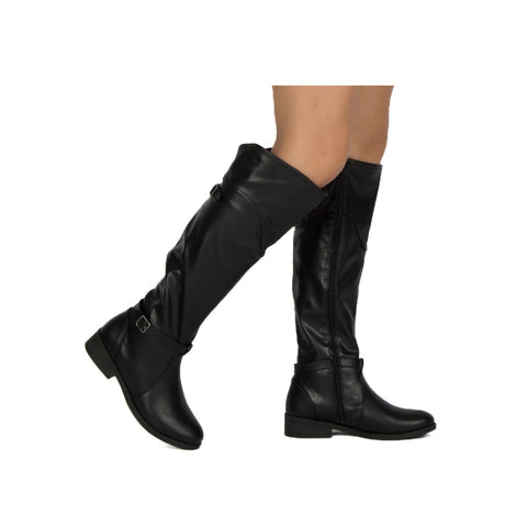Plateau-176BX Black Buckle Knee High Boot