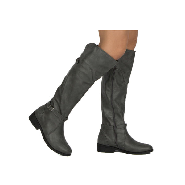 Plateau-176BX Grey Buckle Knee High Boot