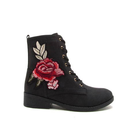 Plateau-177B Black Patchwork Combat Boot