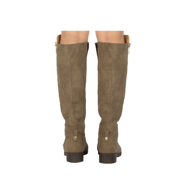 Plateau-184BX Dark Taupe Over The Knee Riding Boot