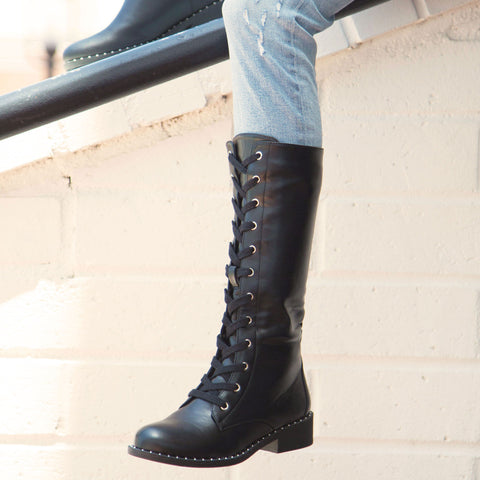 Plateau-225CX Black Lace Up Riding Boot