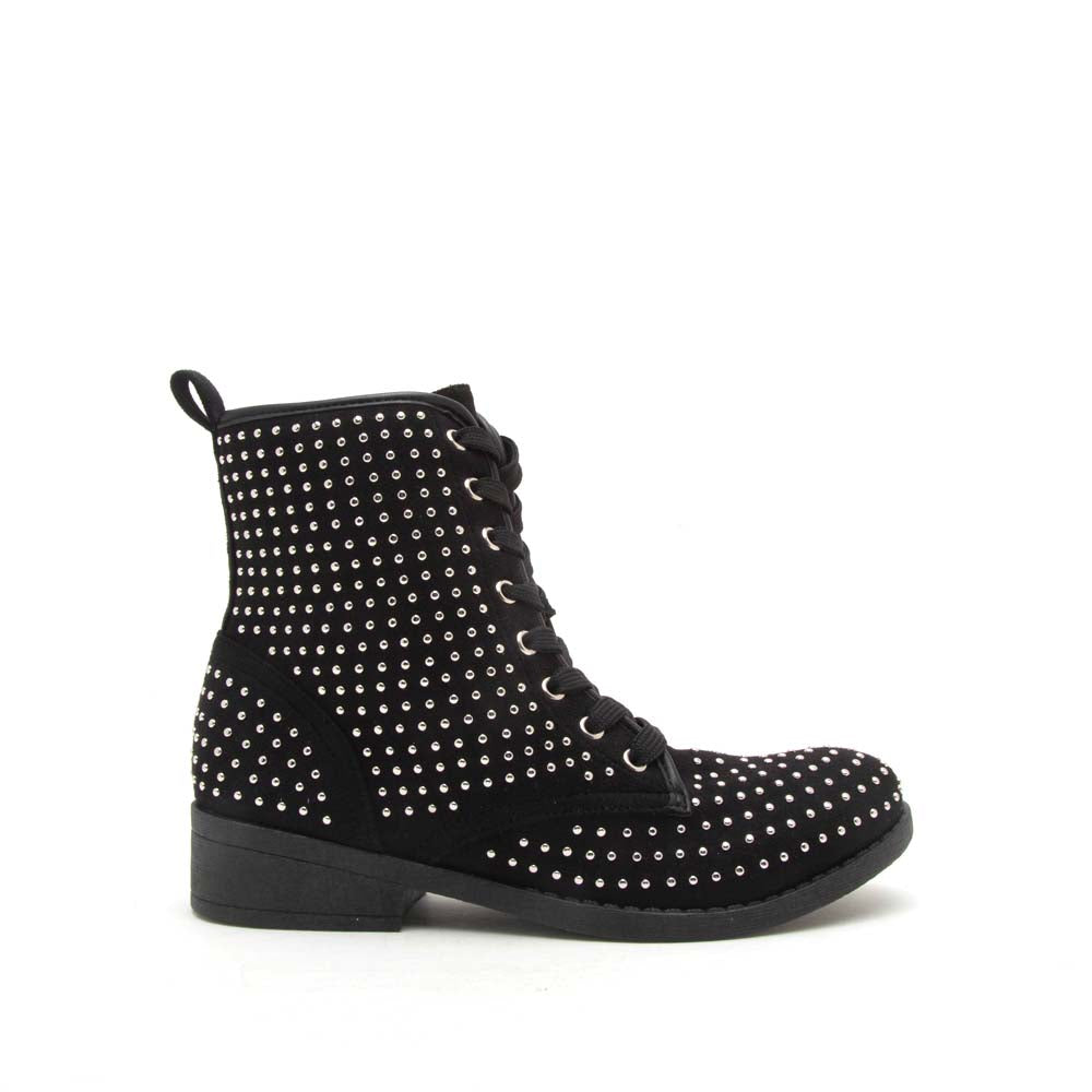 Plateau-234BX Black Studded Lace Up Combat Boot