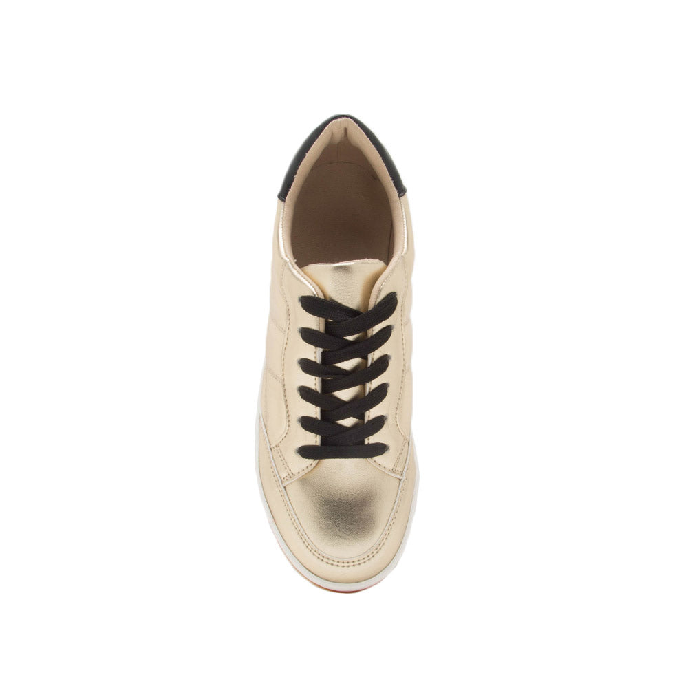 Poki-02A Gold Metallic Quilted Wedge Sneakers