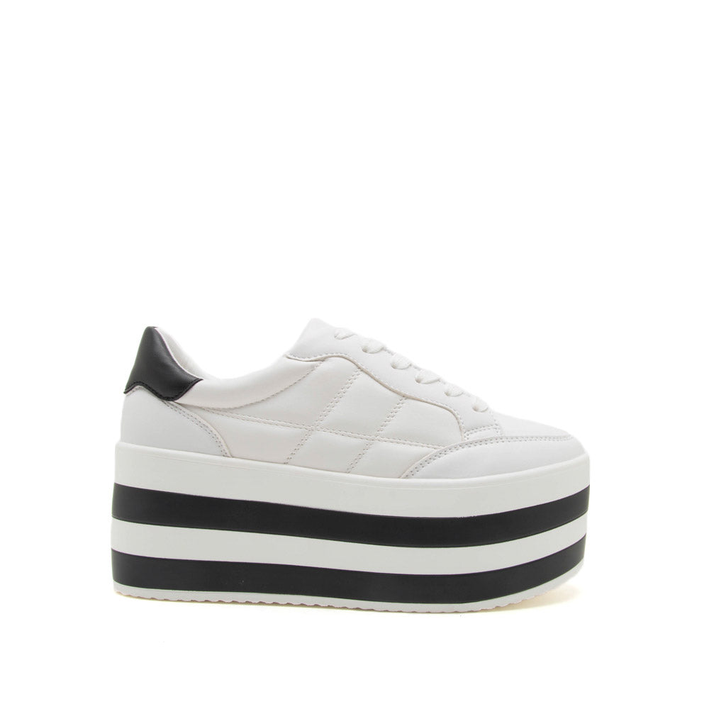 Poki 02A White Quilted Wedge Sneakers