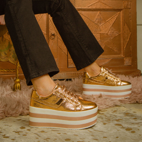 Poki-03A Rose Gold Lace Up Wedge Sneaker