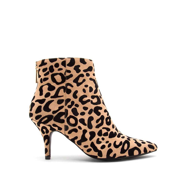 Portia-80 Tan Black Leopard Booties