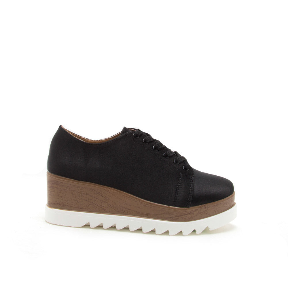 Prado-06 Black Satin Flatform Oxford
