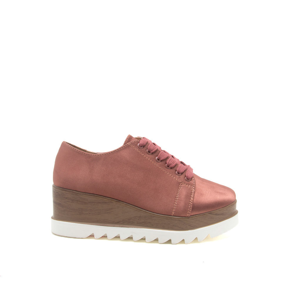 Prado-06 Dark Blush Satin Flatform Oxford