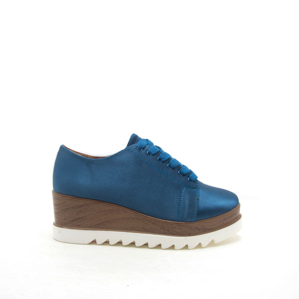 Prado-06 Indigo Blue Satin Flatform Oxford