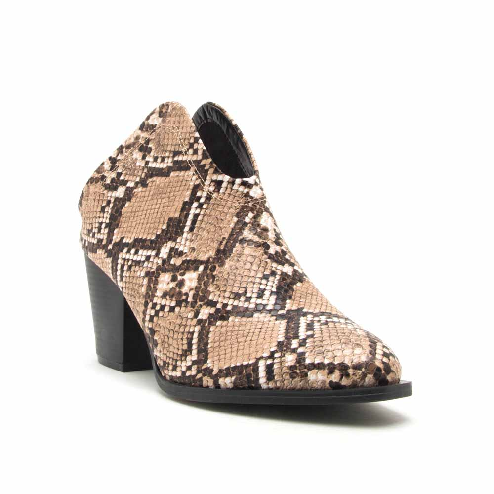Prenton-01X Beige Brown Snake Mule Booties